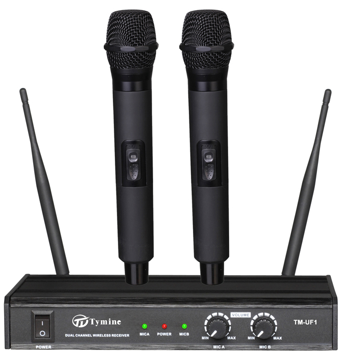 UHF dual channel wireless microphone